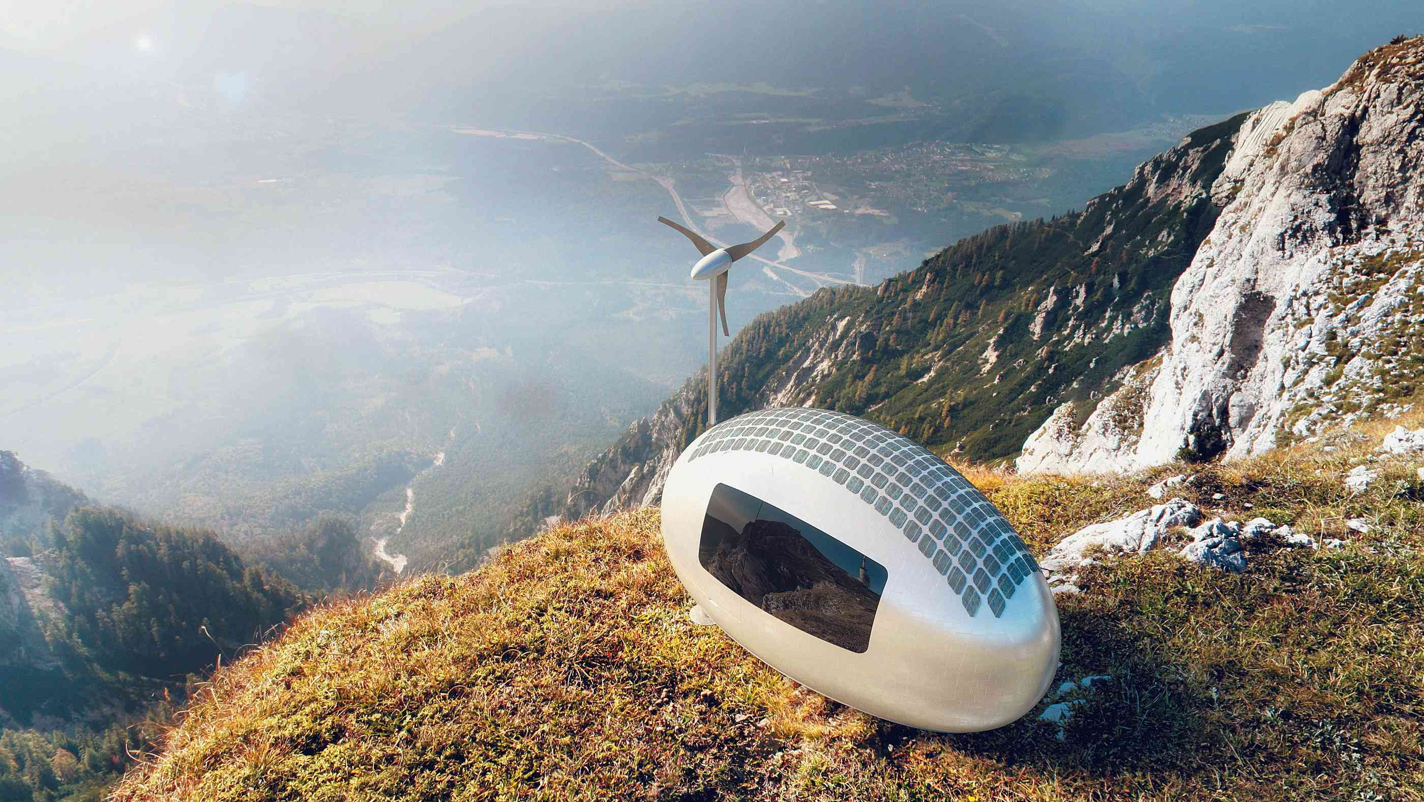 "Tiny house ""Ecocapsule"" am Rande einer Schlucht"