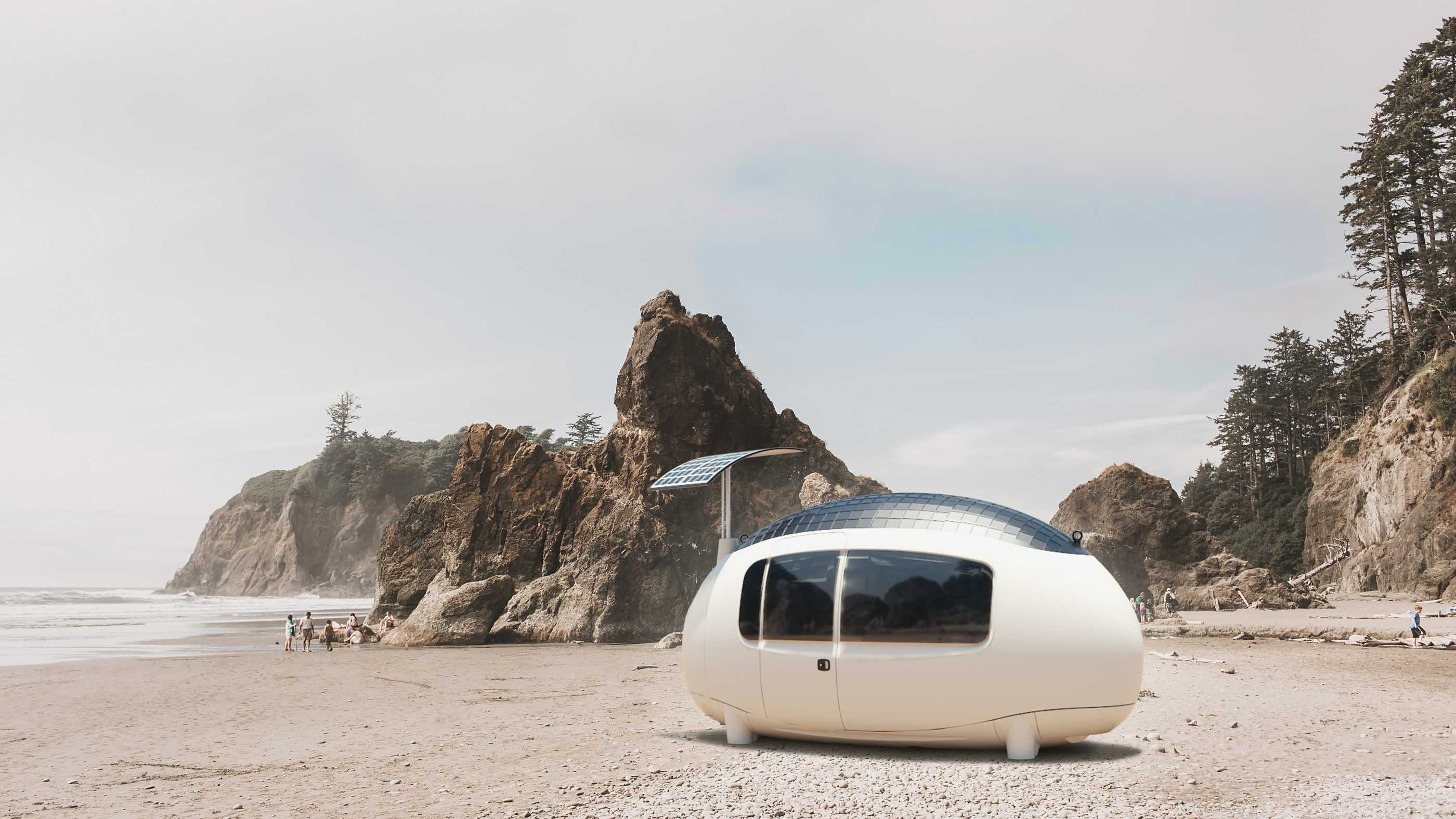 Die Ecocapsule Space am Strand